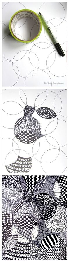 Converging zentangle circles made by tracing a cup