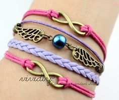 Infinity karma-Infinity wish bracelet-Angel Wings pearl Bracelet,colored wax cord leather handmade jewelry-charm bangle Girl friend gift