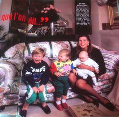 Princess Caroline of Monaco with her children.Figaro magazine 1987.