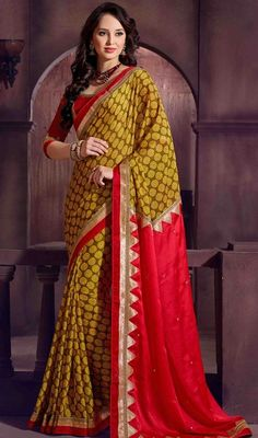 Ideal craftsmanship of embellishments exhibited in this mehendi green, red and yellow color crepe satin printed sari. The amazing attire creates a dramatic canvas with astounding block print, lace and mirror work. Upon request we can make round front/back neck and short 6 inches sleeves regular saree blouse also. #PrettyPatternOfHalfAndHalfSari