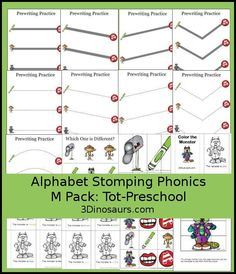 Free Alphabet Stomping M Tot-Preschool Pack - 20 pages of activities - http://3Dinosaurs.com