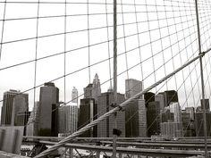 New York from Brooklyn Bridge, USA. #NewYork #BrooklynBridge #blackandwhite