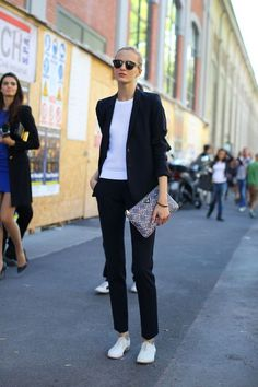 A Black Blazer, a Thin Crewneck Sweater, and Black Pants: Borrow an outfit idea from the boys and sport a sharp black suit to work. Team the two-piece with a thin crewneck sweater and finish with patent leather lace-up flats. White Outfits, Cool Outfits, Casual Outfits, Fashion Outfits, Sneakers To Work, How To Wear Sneakers, Spring Work Outfits, Black Suits, Black Blazers