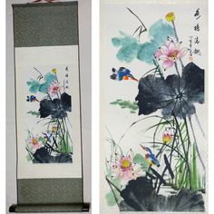 b39a1f59f lotus flower Chinese paintings Home decor Chinese silk scroll painting 荷塘情趣  Funny Paintings, Chinese