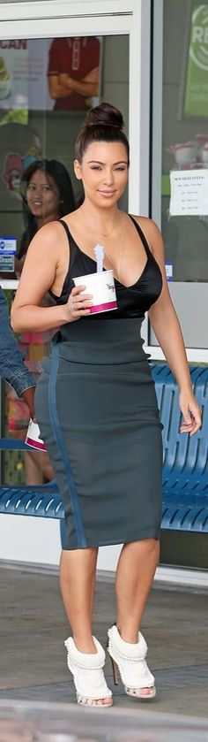 Kim Kardashian getting froyo in a supersexy outfit.