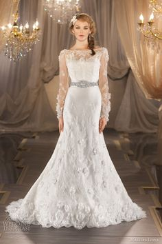 Above and below, silk organza and lace gown, shown with detachable long sleeve lace jacket.