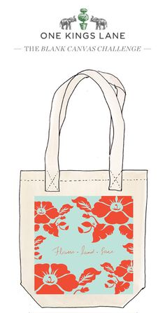 Love this tote bag design by Amanda Heard? Cast your vote by re-pinning it! For more information on our Blank Canvas Challenge visit www.onekingslane.com/designchallenge