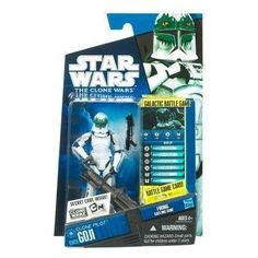 """Star Wars 2010 Clone Wars Animated Action Figure CW No. 28 Clone Pilot Goji by Hasbro Toys. $18.95. For Ages 4 & Up. Clone Pilot Goji is figure # CW28 in the 2010 Clone Wars action figure line. Star Wars: The Clone Wars 3 3/4"""" animated action figure from Hasbro. Figure comes with firing gatling gun, Galactic Battle Game card, die and base. A clone pilot flies a Ywing fighter on a bombing mission. The leader of Red Squadron unleashes a new Republic weapon designe..."""
