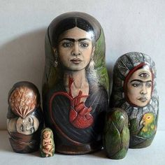 Variations on a Theme ∷ Collection of Frida Kahlo Matryoshka Dolls Diego Rivera, Natalie Clifford Barney, Mexican Artists, Mexican Folk Art, Frida And Diego, Frida Art, Matryoshka Doll, Art Dolls, Artsy