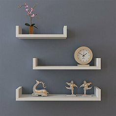 Set of 3 U Shape Floating Wall Shelves Storage Display Shelf.- Set of 3 U Shape Floating Wall Shelves Storage Display Shelf Display Shelves Decor, Decor, Wall Bookshelves, Floating Shelves, Wall Mounted Bookshelves, Storage Shelves, Wall Mounted Storage Shelves, Mounted Shelves, Floating Wall Shelves