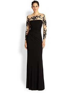 David Meister - Embroidered Illusion Gown - Saks.com  wish this came in another color.