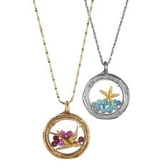 Treasure Boxes  Handmade from real branches cast in recycled sterling silver, these lockets by artist Catherine Weitzman are enchanting, elegant and a beautiful tribute to nature.  Starfish Locket: Keep the magical allure of the sea close to your heart with this locket featuring a glass window that bows out slightly to hold a tiny 18 karat gold vermeil starfish and a group of apatite gemstones that float freely inside the glass.