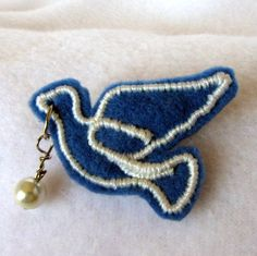 Items similar to Dove with Pearl Pin Blue Bird Pin Scatter Pin. on Etsy Paper Clip, Blue Bird, Pearls, Trending Outfits, Unique Jewelry, Handmade Gifts, Christmas, Vintage, Etsy