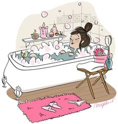 bath / Bath time relaxing ideas Ideas 10 Easy Tips for Arthritis Pain Relief Think you can Illustration Mignonne, Illustration Art, Buch Design, Bath Time, Girly Things, Art Drawings, Relax, Doodles, Artsy