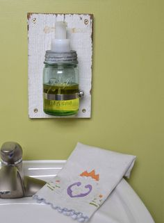 Barn Board Wall Mount Ball Jar Foaming Soap by sugarSCOUT on Etsy, $46.00