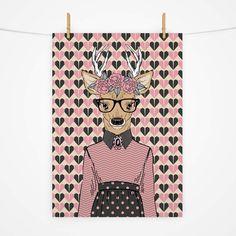 Pôster hipster alce feminino, ótimo para a decoração de ambientes descontraidos