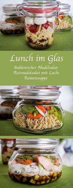 Lunch in the glass - for those who are tired of having a canteen .- Lunch im Glas – für alle die keine Lust mehr auf Kantine haben Tasty alternative to canteen food! With these simple lunches in glass recipes, the fresh lunch is assured at work. Lunch Snacks, Lunch Recipes, Healthy Snacks, Breakfast Recipes, Healthy Recipes, Breakfast To Go, Work Lunches, Easy Recipes, Tasty