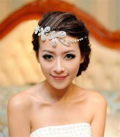 HITOP Retro Griechisch elegant Damen Süß Spitze Luxus Blumen Perle Strass Schmetterling Halbbogen Headwrap Stirnband Stirnschmuck Hochzeit: ...