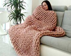 Super grande grueso Grande de manta de lana manta por WowKnitAndCo