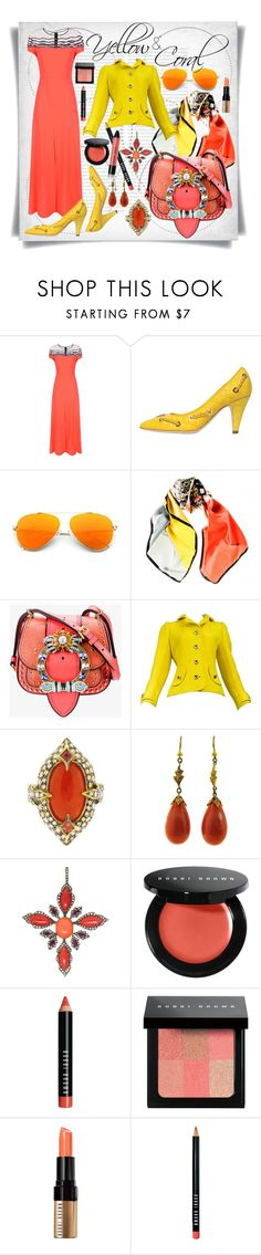 """""""Yellow and Coral"""" by imbeauty ❤ liked on Polyvore featuring Oris, ESCADA, Moschino, Black, Miu Miu, Courrèges, Cathy Waterman, Bobbi Brown Cosmetics and yellowcoral"""