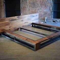 DIY Industrial Bed Frame Design Ideas For Inspiration - Salvabrani Welded Furniture, Steel Furniture, Bed Furniture, Furniture Design, Furniture Ideas, Cama Industrial, Industrial Bed Frame, Bed Frame And Headboard, Diy Bed Frame