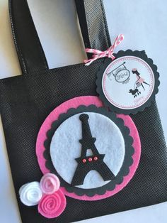 Set of 12 Paris Theme Party Favor Bags with by SalomeCrafts