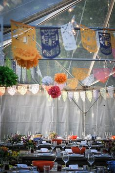 Marquis wedding decor. Custom papel picado banners by aymujer.etsy.com