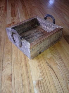 Rustic Wood Box With Horse Shoe Handles