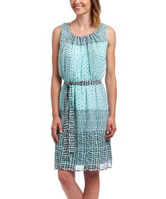 Look what I found on #zulily! Mint & Gray Mosaic Belted Shift Dress #zulilyfinds