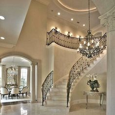 WEBSTA @ velvetmusings - Oh my gosh! Dramatic stairs ..French pieces and killer light fixtures. Elegance. Credits anyone?#home #homedecor #decor #decoracao #details #luxuryhomes #staging #classy #opulence #light #luxe #luxurylisting #interiorlover #interiordesign #design #decorating