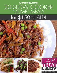 With this Slow Cooker Dump Aldi Meal Plan you will make 20 meals in under 90 minutes for only $150 at Aldi! Stop stressing about dinner and try it out!