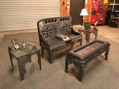 Steampunk Furniture Couch Sofa End Table Industrial Whimsical Celestial Unique Hand Made Aluminum Leather Bomber Seat Aviation Car Part Furniture, Buy Furniture Online, Couch Furniture, Metal Furniture, Cheap Furniture, Furniture Makeover, Living Room Furniture, Furniture Design, Furniture Stores