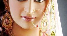 Flower Beads Chain Hanging Stone Braidal Nose Ring Design
