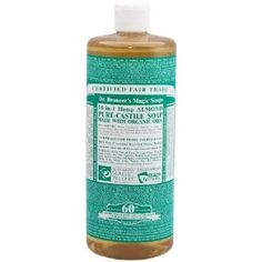 ORG PURECASTL LIQSOAP ALMD32OZ by Dr. Bronner. $21.79. Great for shaving. No foaming agents. All natural organic certified ingredients. 100% Vegan and biodegradable. Dr Bronners Magic Pure-Castile Soap Organic Almond, 32 oz.
