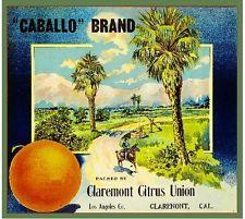 Claremont Caballo Scenic Orange Citrus Fruit Crate Label Art Print