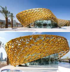 The exterior of this public building is covered with a shell of bright yellow metal flowers.