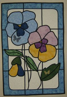 Pansy Stained Glass Quilt I love this. Stained Glass Quilt, Stained Glass Flowers, Faux Stained Glass, Stained Glass Projects, Stained Glass Patterns, Stained Glass Windows, Celtic Quilt, Barn Quilts, Pansies