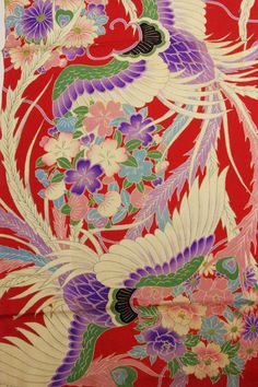 「古布 ちりめん」Japanese Kimono Flower Themed ...[]... Fabric
