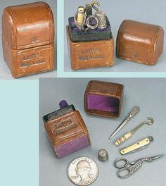 """Rare Miniature Antique Doll's or Child's """"Lady's Companion"""" Sewing Set * C1850 