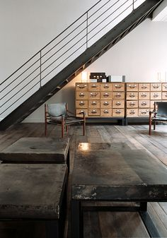 Industrial stairs in Paris, in a loft re-designed by French Interior Design Valérie Mazérat as seen on BODIE and FOU
