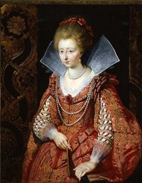 "1610 Charlotte de Montmorency after Peter Paul Rubens (auctioned by Christie's). This image is worth placing due to the monolithic almost semicircular ruff and vee neckline associated with typical late Renaissance (""Elizabethan"") dress. The original work by Rubens is showing her tabbed bodice and back-flared engageantes."