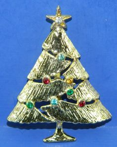 Christmas Tree Pin Signed BJ Rhinestones by QueeniesCollectibles, $9.99