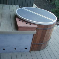 cedar hot tub with custom deck surround and led riser lights - Yelp Hot Tub Cover, Access Panel, Custom Decks, New Deck, Western Red Cedar, Outdoor Furniture, Outdoor Decor, Teak, Backyard