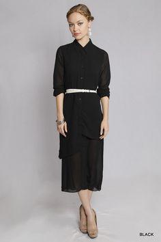 Collared Asymmetrical Shirt Dress Black