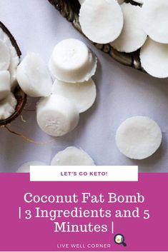 Quick and easy to make coconut fat bombs! Make these delicious high fat snacks with 3 ingredients in only 5 Minutes. Quick and easy to make coconut fat bombs! Make these delicious high fat snacks with 3 ingredients in only 5 Minutes. Easy Snacks, Keto Snacks, Keto Coconut Fat Bombs, Low Carb Crockpot Chicken, Ketogenic Diet, No Carb Food List, Keto Fat, High Fat Keto Foods, Food Pack
