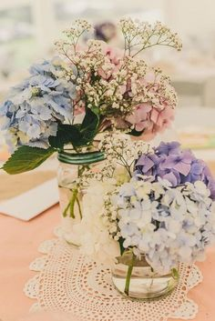 gypsophila and coloured hydrangeas rustic vintage wedding centerpiece