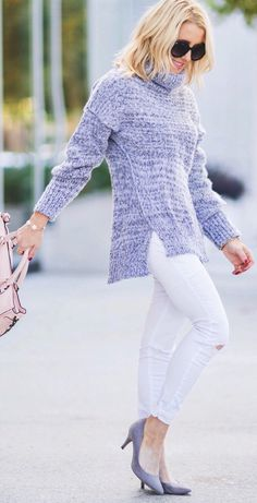 Grey Wool Turtleneck / White Skinny Jeans /grey Pumps / Pink Leather Tote Bag