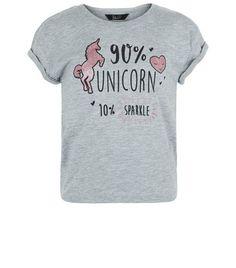 Girls Grey Unicorn Sparkle Print T-shirt | New Look
