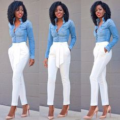 Denim Shirt + Tie Front Tapered Pants.. Business Attire, Business Casual, White Flare Pants, White Slacks, White Dress Pants, White Trousers, White Jeans, Denim Shirts Women, Casual Shirts