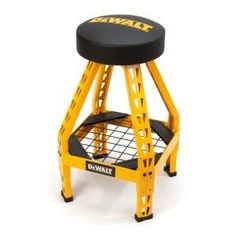 The DEWALT was designed and engineered to provide a heavy-duty stool fit for both professional and home use. This stool's legs and supports are built using the same powder-coated, industrial Industrial Storage Racks, Steel Storage Rack, Industrial Chair, Industrial Workbench, Record Storage Box, Tool Storage, Garage Storage, Free Standing Shelves, Steel Frame Construction
